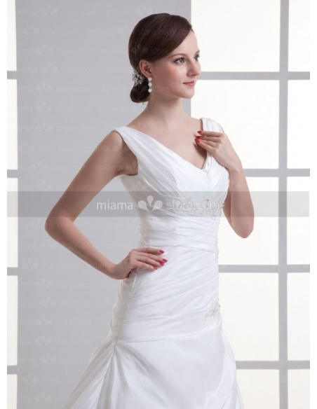 SANDRA - A-line V-neck Chapel train Taffeta Weeding dress