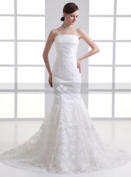 YULIA - A-line Strapless Mermaid Chapel train Tulle Weeding dress
