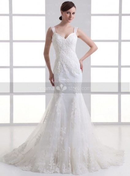 KATYA - A-line Sweetheart Mermaid Chapel train Tulle Weeding dress
