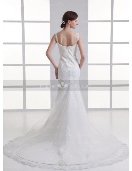 KATYA - A-line Sweetheart Mermaid Chapel train Tulle Weeding dress
