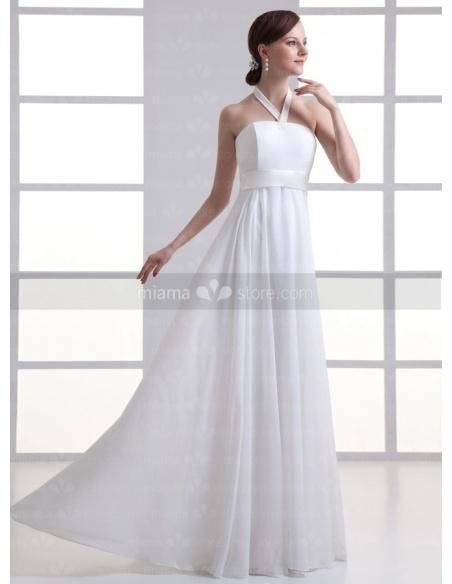 SIMONA - Sheath Empire waist Halter Cheap Floor length Chiffon Weeding dress