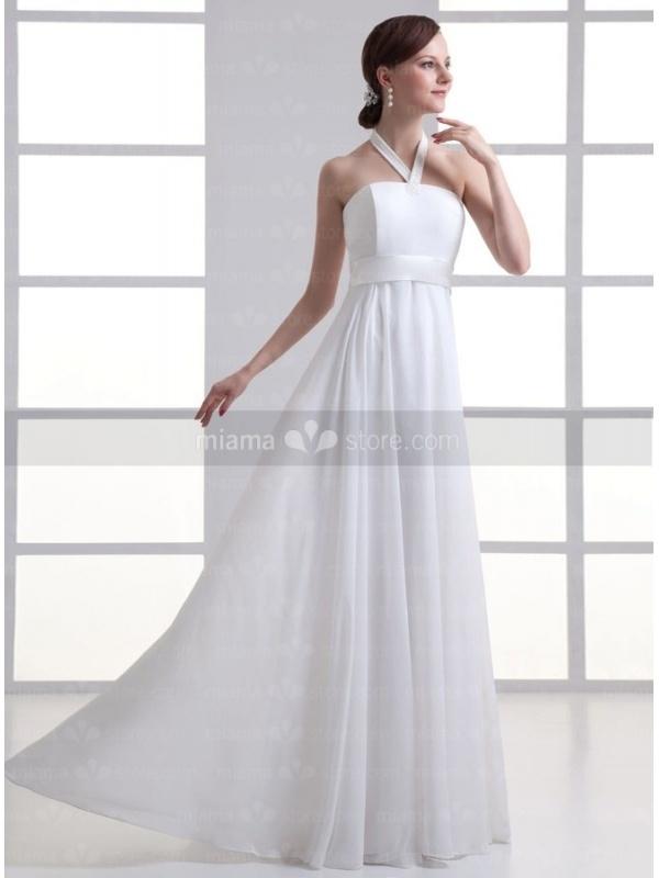 robe de mari e en chiffon col l 39 am ricaine taille empire bustier droit. Black Bedroom Furniture Sets. Home Design Ideas