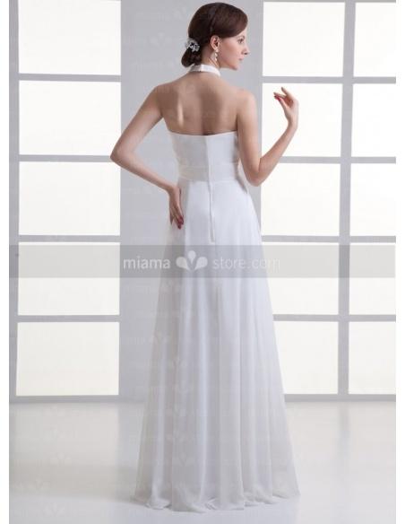 SIMONA - Sheath Empire waist Halter Cheap Floor length Weeding dress
