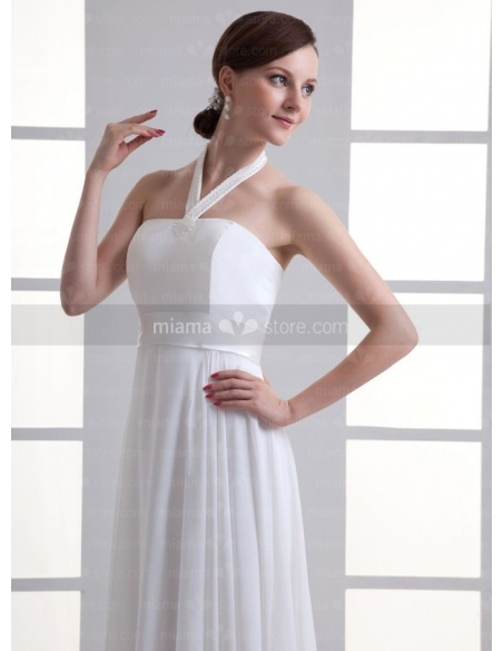 SIMONA - Sheath Empire waist Halter Cheap Floor length Chiffon Weeding dress