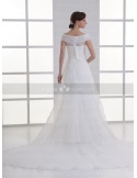 ALYS - A-line Off the shoulder Cheap Watteau train Organza Low round/Scooped neck Weeding dress