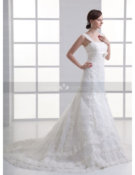 MONIKA - A-line Empire waist Chapel train Tulle Square neck Weeding dress