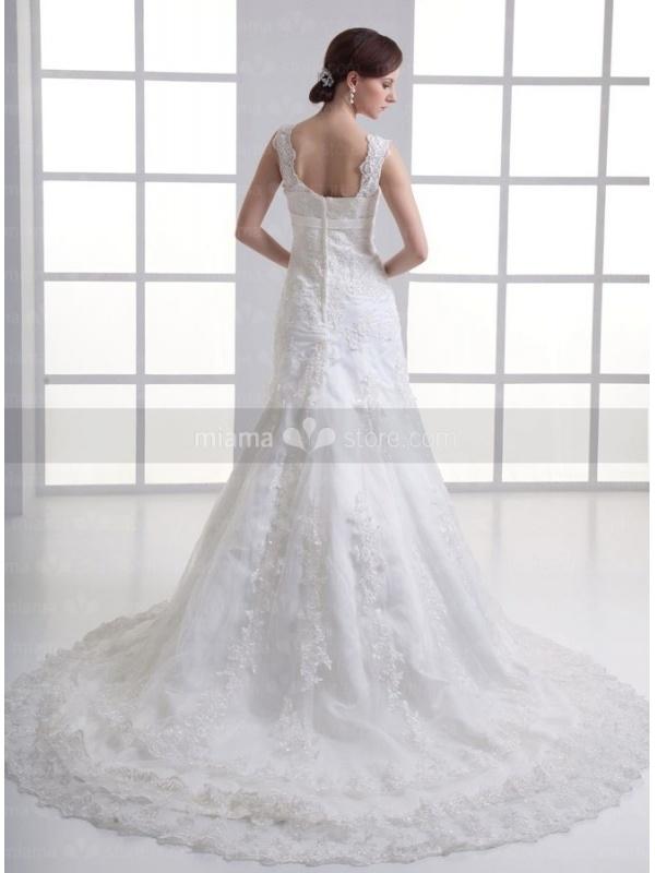 A line empire waist chapel train tulle square neck wedding for Empire waist tulle wedding dress