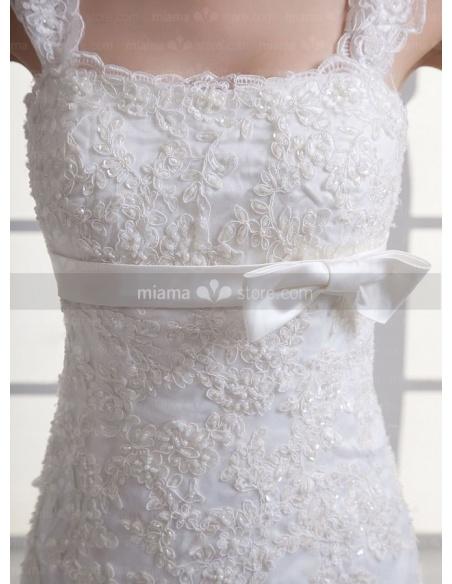 MONIKA - A-line Empire waist Chapel train Tulle Square neck Weeding dress