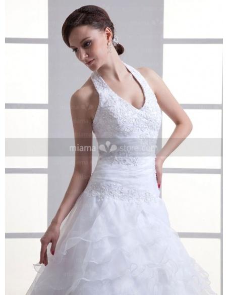 STELLA - A-line Halter V-neck Chapel train Organza Weeding dress