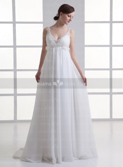 d37761e96af0 JULIA - Sheath Empire waist Spaghetti straps Cheap Chapel train Chiffon  V-neck Weeding dress