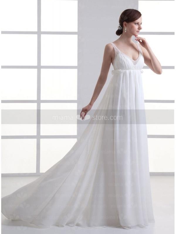 robe de mari e coupe droite taille empire en chiffon fines bretelles. Black Bedroom Furniture Sets. Home Design Ideas