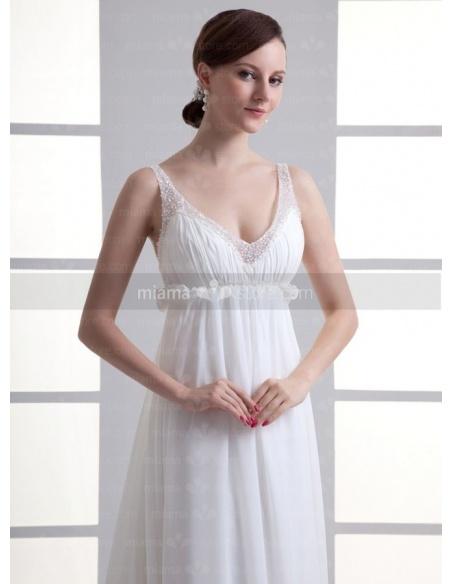 JULIA - Sheath Empire waist Spaghetti straps Cheap Chapel train Chiffon V-neck Weeding dress