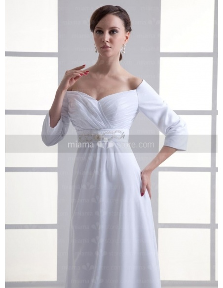 KAKA - Sheath Empire waist Off the shoulder Cheap Floor length Chiffon Sweetheart Weeding dress