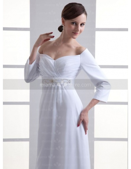 KAKA - Sheath Empire waist Off the shoulder Cheap Floor length Chiffon Sweetheart Weeding dress