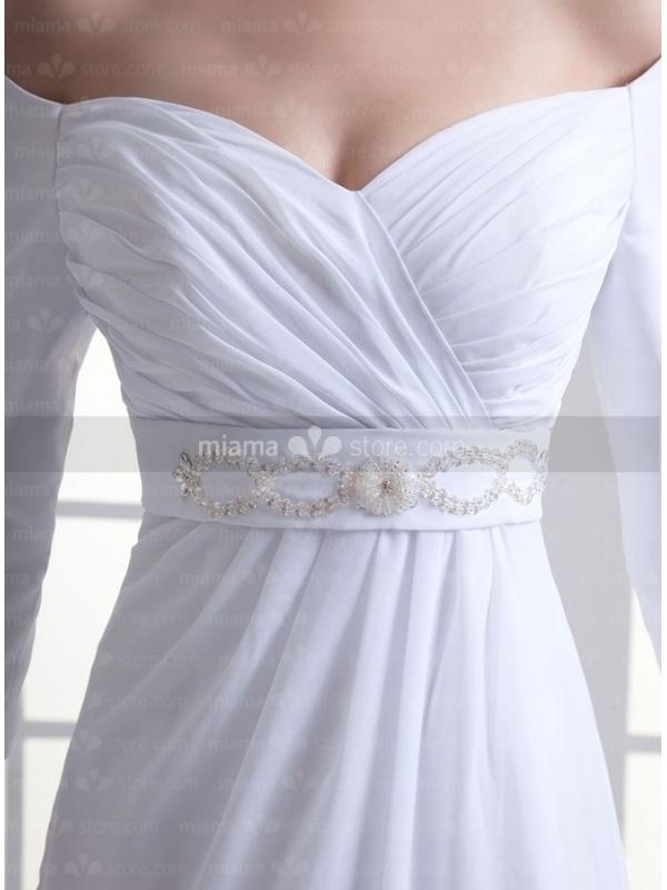 robe de mari e coupe droite taille empire manches 3 4 d collet barque. Black Bedroom Furniture Sets. Home Design Ideas