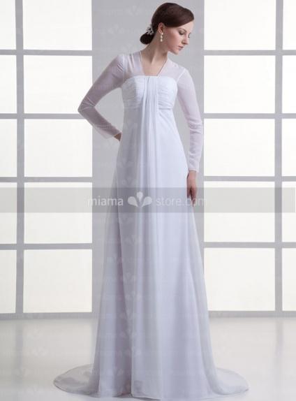 robe de mari e coupe droite taille empire manches 3 4 en chiffon online. Black Bedroom Furniture Sets. Home Design Ideas