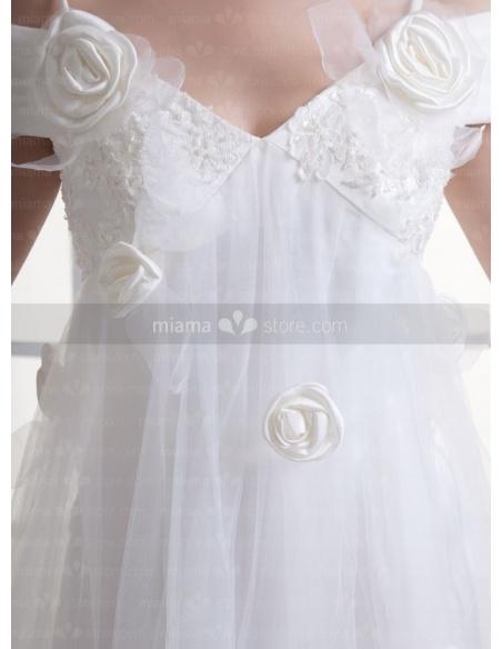 OLGA - A-line Spaghetti straps Off the shoulder V-neck Chapel train Tulle Weeding dress