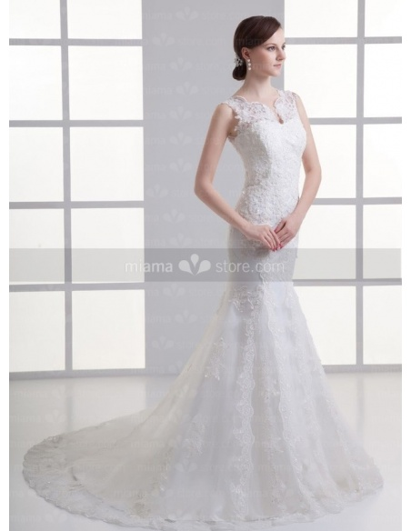 KSENIYA - A-line Mermaid Chapel train Tulle High round/Slash neck Weeding dress