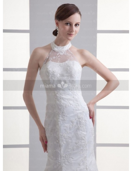 MARIANA - A-line Mermaid Halter Chapel train Tulle Weeding dress