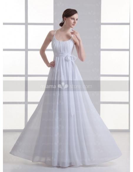 SANDRA - Empire waist Cheap Floor length Chiffon Low round/Scooped neck Weeding dress