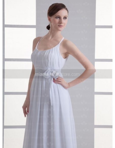 SANDRA - Empire waist Cheap Floor length Chiffon Low round/Scooped neck Weeding dress