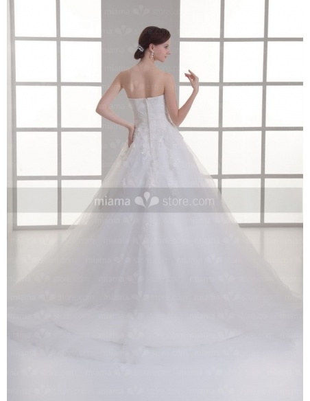 CAMILLE - A-line Sweetheart Empire waist Floor length Tulle Weeding dress