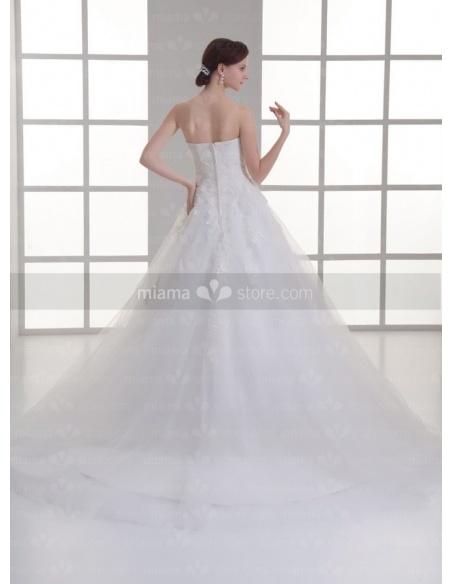 CAMILLE - A-line Sweetheart Empire waist Floor length Tulle Weeding dress