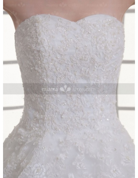 CAMILLE - A-line Sweetheart Empire waist Chapel train Tulle Weeding dress