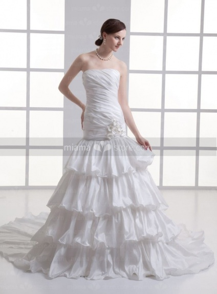 CANDICE - A-line Strapless Floor length Taffeta Weeding dress