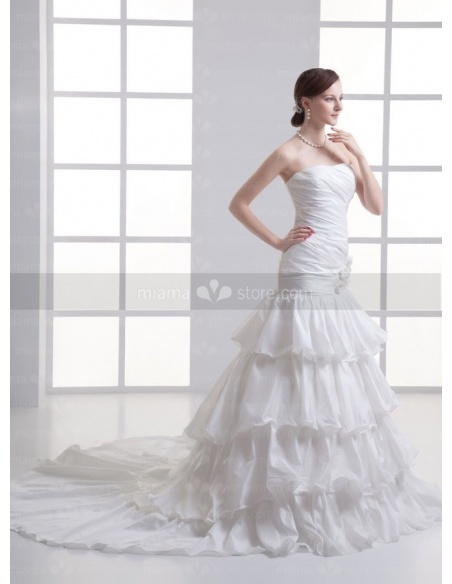 CANDICE - A-line Strapless Floor length Taffeta Weeding dress