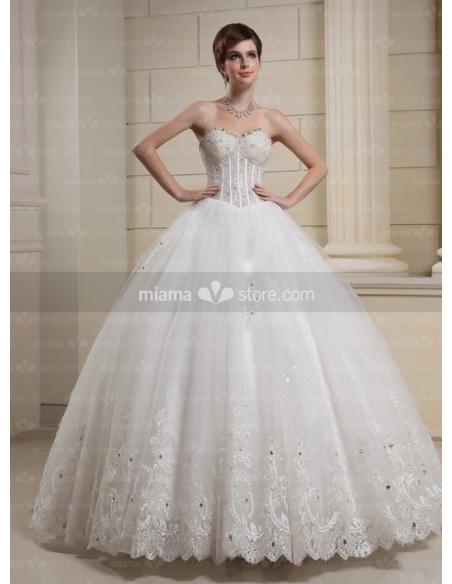 CARA - A-line Ball gown Sweetheart Basque waist Floor length Tulle Wedding dress