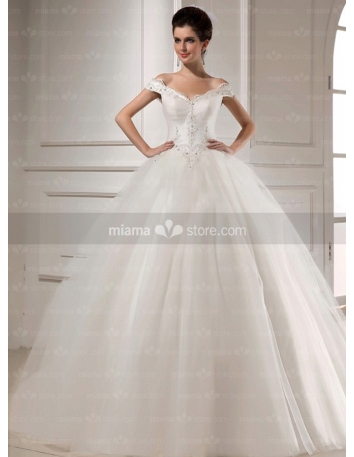 CAROL - A-line Ball gown Off the shoulder Basque waist Floor length Tulle V-neck Wedding dress