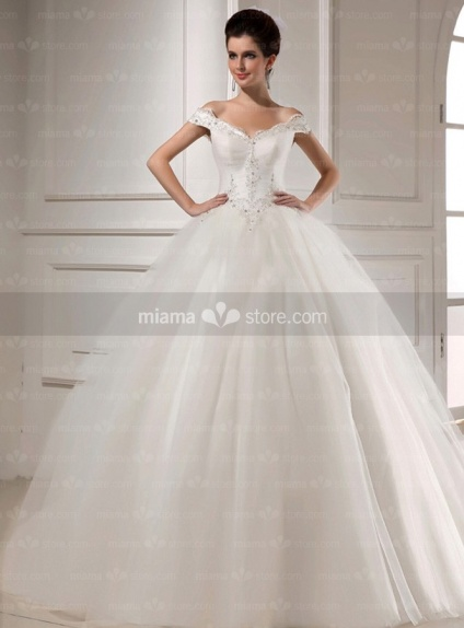 CAROL - A-line Ball gown Off the shoulder Basque waist Floor length Tulle V-neck Wedding dress