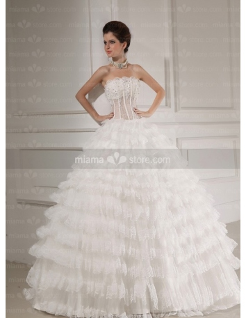 CAROLINE - A-line Ball gown Strapless Floor length Tulle Wedding dress