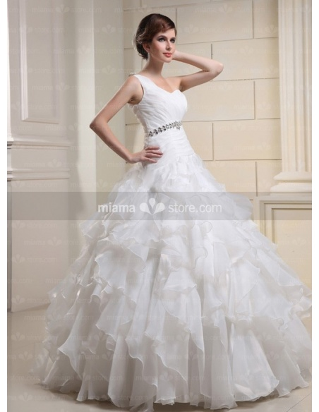 CATHERINE - A-line Ball gown Floor length Tulle One shoulder Wedding dress