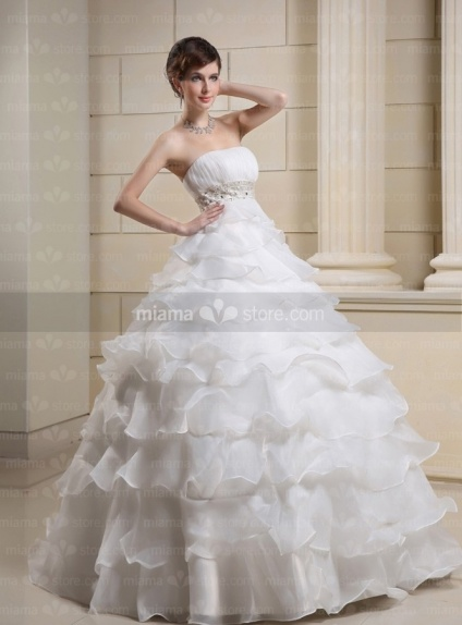 CATHY - A-line Ball gown Strapless Empire waist Floor length Tulle Wedding dress