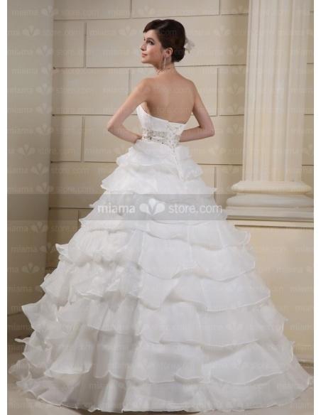 CATHY - A-line Ball gown Strapless Empire waist Floor length Tulle Wedding dress