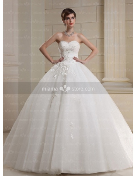 CHARLOTTE - A-line Ball gown Sweetheart Floor length Tulle Wedding dress