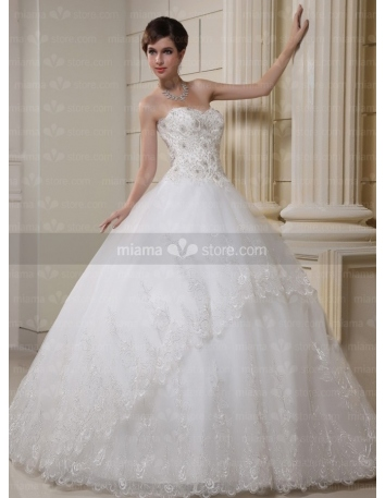 CHERRY - A-line Ball gown Sweetheart Floor length Tulle Wedding dress