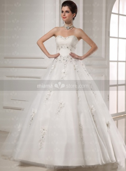 CHERYL - A-line Ball gown Sweetheart Floor length Tulle Wedding dress