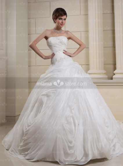 CHRISTINE - A-line Ball gown Strapless Chapel train Tulle Wedding dress