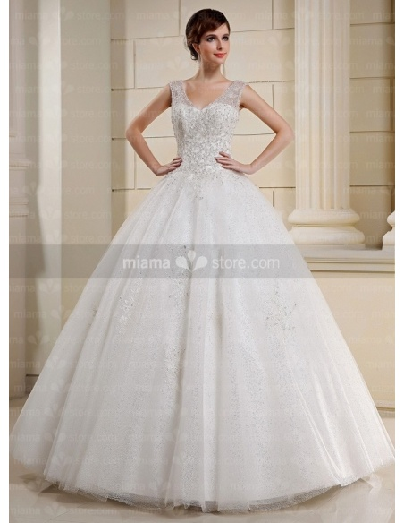 CLAIRE - A-line Ball gown V-neck Floor length Tulle Wedding dress