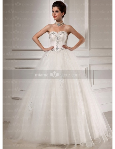 CORAL - A-line Ball gown Sweetheart Basque waist Floor length Tulle Wedding dress