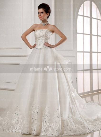 CRYSTAL - A-line Strapless Basque waist Cathedral train Tulle Wedding dress