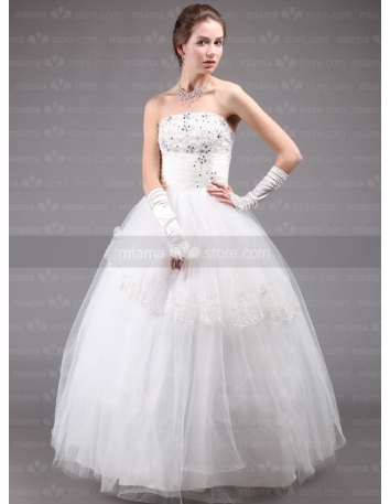 DALE - A-line Ball gown Strapless Floor length Tulle Wedding dress