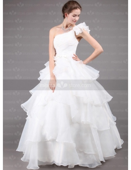 DARLENE - A-line Ball gown Floor length Tulle One shoulder Wedding dress