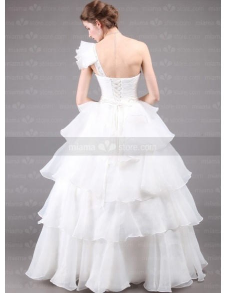 DARLENE - A-line Ball gown Floor length One shoulder Wedding dress