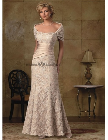 LARA - Mother of the bride Sheath Floor length Satin Lace flowers Square neck Wedding party dress