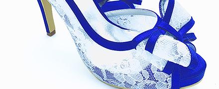 scarpe da sposa blu in pizzo